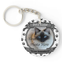 Cat Memorial - Forever Remembered - Pet Loss Cat Keychain