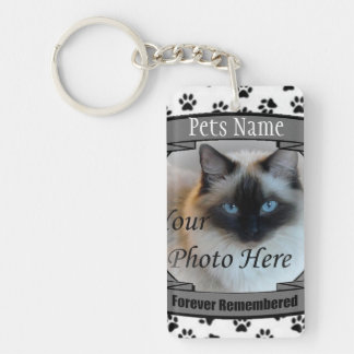 Cat Memorial - Forever Remembered - Pet Loss Cat Rectangular Acrylic Keychain