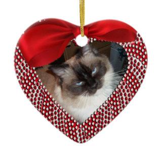 Cat Memorial Heart Shaped Ornament - Christmas