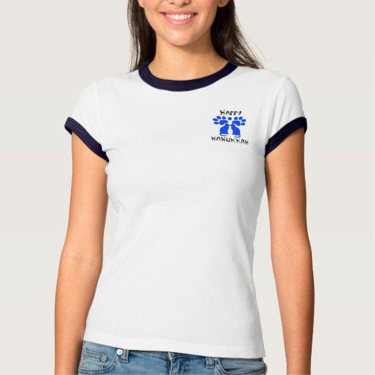 Cat Menorah Happy Hanukkah 2-Sided Women's Shirts