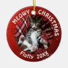 """Cat """"Meowy Christmas"""" 2-Sided 2-Photo Red Ceramic Ornament"""
