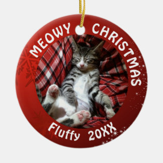 "Cat ""Meowy Christmas"" 2-Sided 2-Photo Red Ceramic Ornament"