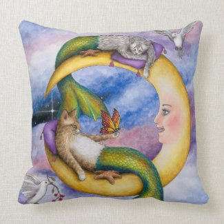 Cat Mermaid 29 Throw Pillow