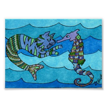 Beach Themed Cat Mermaid Meets Seahorse Mini Folk Art Poster