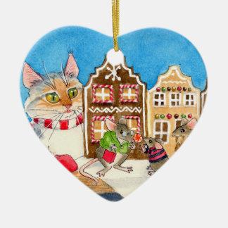 Cat, Mice, Christmas Gingerbread House Ceramic Ornament