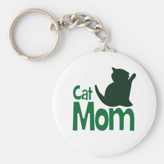 Cat Mom Basic Round Button Keychain