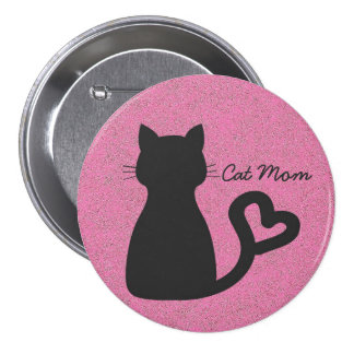 Cat Mom Large Round Button