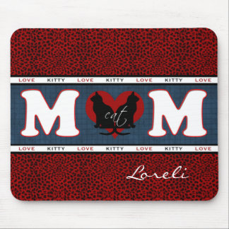 Cat Mom Red Leopard Print Personalized Mouse Pad