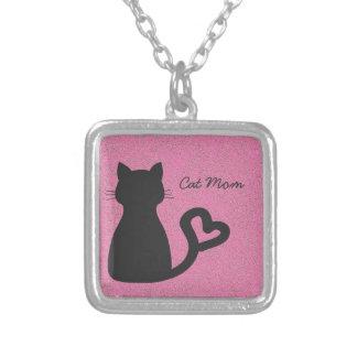 Cat Mom Square Pendant Necklace