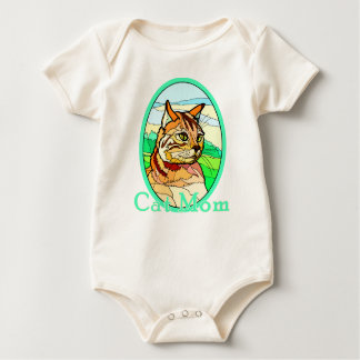 Cat Mom Stained Glass 1 Baby Bodysuit