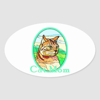 Cat Mom Stained Glass 1 Oval Sticker