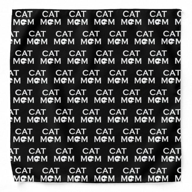 Cat Mom White Font Bandana