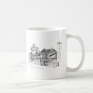 Cat monk classic white coffee mug
