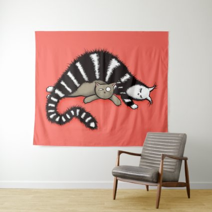 Cat Mother Protects Her Cute Kitty Kid Tapestry