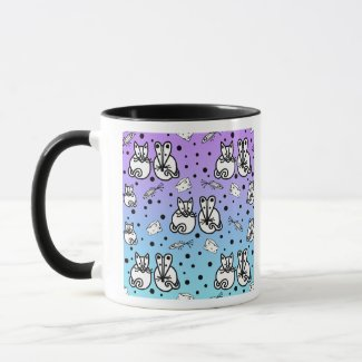 Cat & Mouse are Friends in Pink Blue and Purple Mug