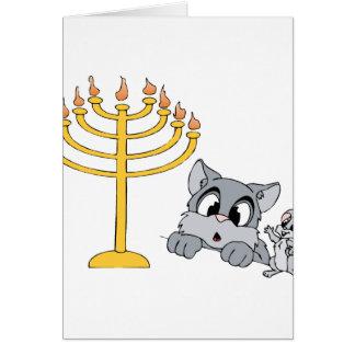 Cat Mouse Menorah Card
