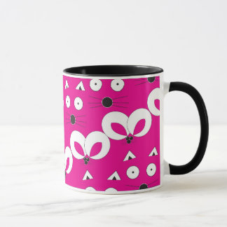 Cat Mouse pattern mug hot pink