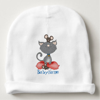 Cat & Mouse Slumber Party Personalized Baby Beanie