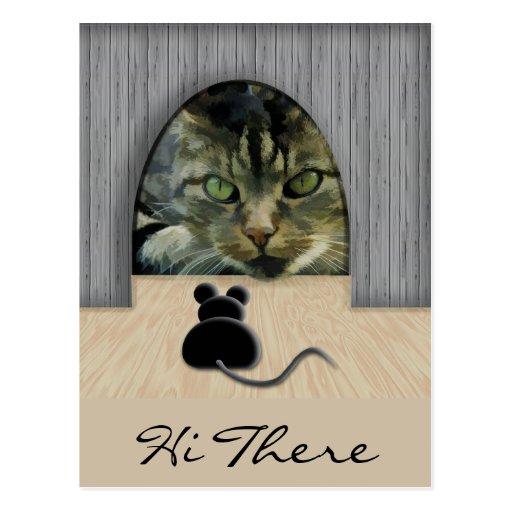 Cat & Mouse Standoff Postcard