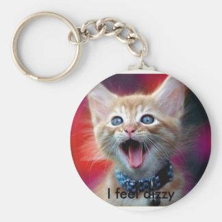 cat-mouth-full, I feel dizzy Keychain