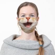 Cat Mouth Funny Nose Kitten Cats Lovers Face Adult Cloth Face Mask