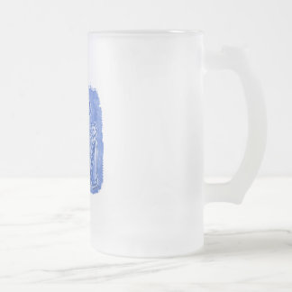 cat mummies blue frosted glass beer mug