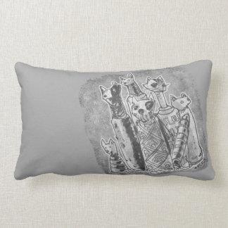 cat mummies grey and black twin face lumbar pillow