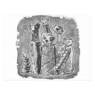 cat mummies grey postcard