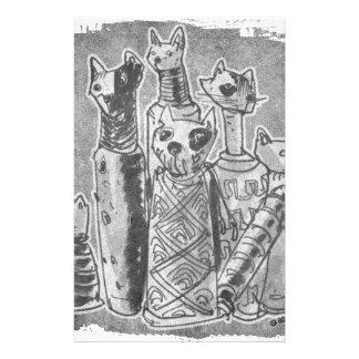 cat mummies grey stationery
