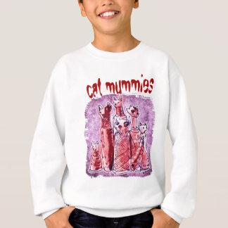 cat mummies purlpe and red sweatshirt