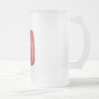 cat mummies red frosted glass beer mug