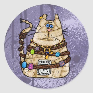 cat mummy 2 classic round sticker