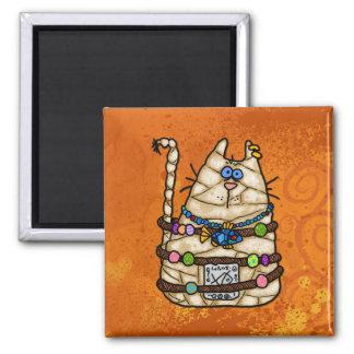 cat mummy 2 inch square magnet