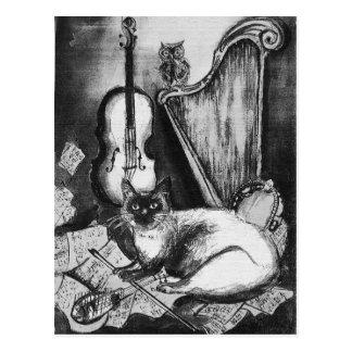 CAT MUSICAL, blanco y negro Tarjeta Postal