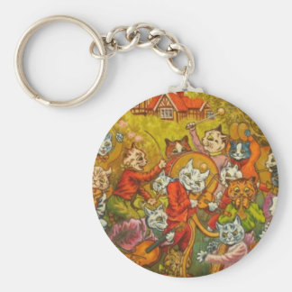 Cat Musical Party Artwork by Louis Wain Keychains