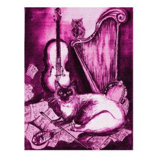 CAT MUSICAL, violeta y blanco rosados Postales