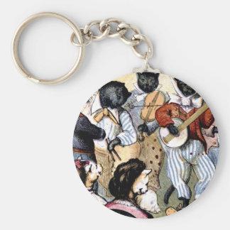 Cat Musicians Basic Round Button Keychain