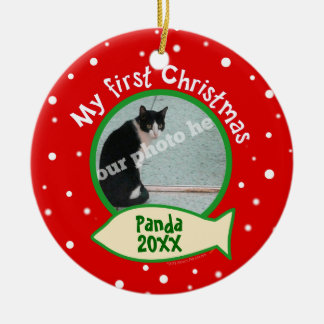 Cat My First Christmas Red and Green Pet Photo Ceramic Ornament