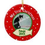 Cat My First Christmas Red and Green Pet Photo Double-Sided Ceramic Round Christmas Ornament