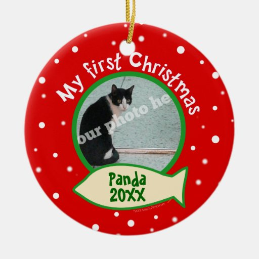 Cat My First Christmas Red and Green Pet Photo Christmas Tree Ornaments