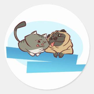 Cat n Pug Classic Round Sticker