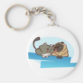 Cat n Pug Keychain
