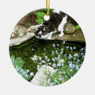 Cat named Gandalf and forget me nots  - photograph Christmas Tree Ornament