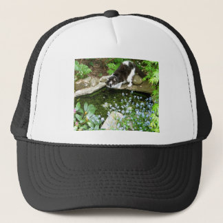 Cat named Gandalf and forget me nots  - photograph Trucker Hat