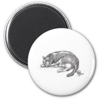 Cat Nap 2 Inch Round Magnet