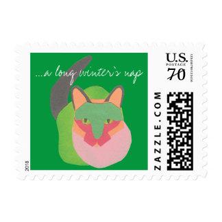 Cat Nap Christmas Stamp