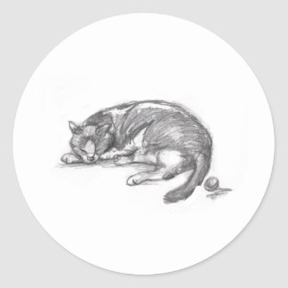 Cat Nap Classic Round Sticker