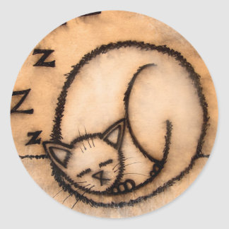 cat nap classic round sticker