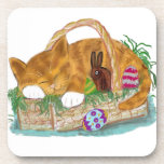 Cat Nap in an Easter Basket Coaster