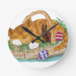 Cat Nap in an Easter Basket Round Clock